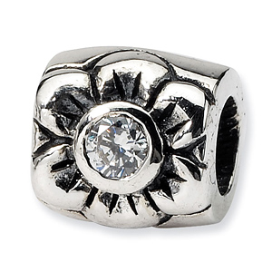 Sterling Silver Reflections CZ Bead with Flower Design