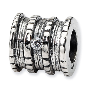 Sterling Silver Reflections CZ Barrel Bead