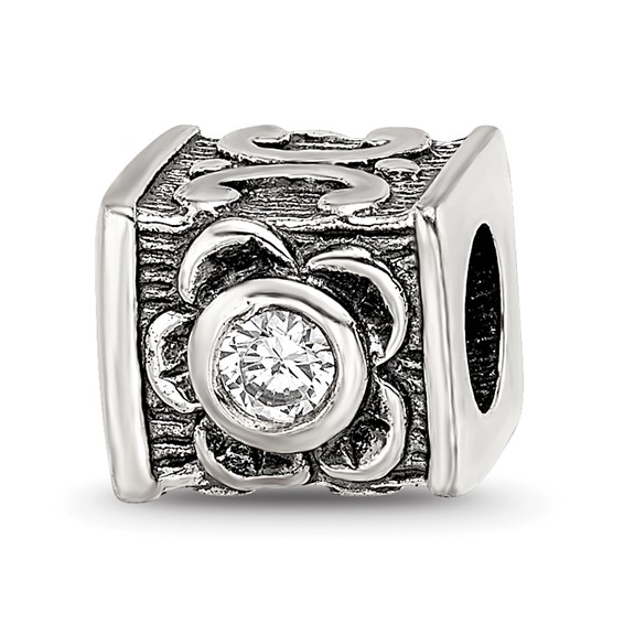 Sterling Silver Reflections CZ Cube Bead