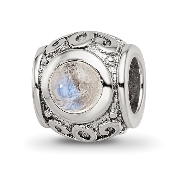 Sterling Silver Round Fancy Moonstone Bead