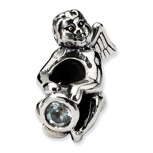 Sterling Silver Reflections March CZ Angel Bead