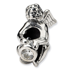 Sterling Silver Reflections April CZ Angel Bead