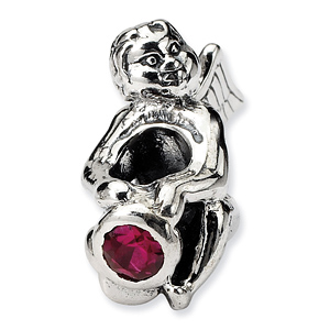 Sterling Silver Reflections July CZ Angel Bead
