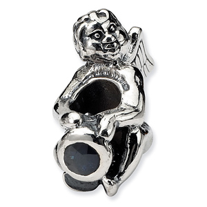 Sterling Silver Reflections September CZ Angel Bead