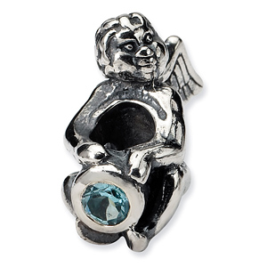 Sterling Silver Reflections December CZ Angel Bead