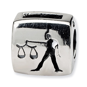 Sterling Silver Reflections Libra Zodiac Antiqued Bead