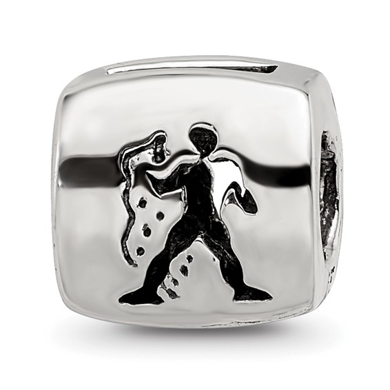 Sterling Silver Reflections Aquarius Zodiac Antiqued Bead