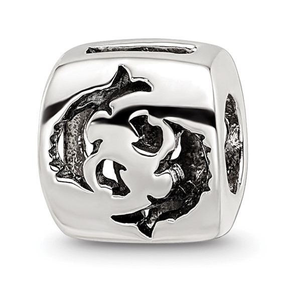 Sterling Silver Reflections Pisces Zodiac Antiqued Bead