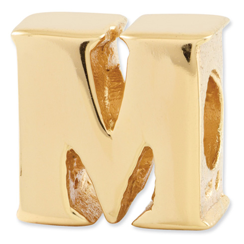 Sterling Silver Gold-plated Reflections Letter M Bead