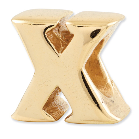 Sterling Silver Gold-plated Reflections Letter X Bead