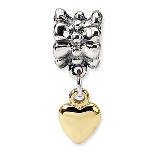 Sterling Silver & 14k Reflections Heart Dangle Bead
