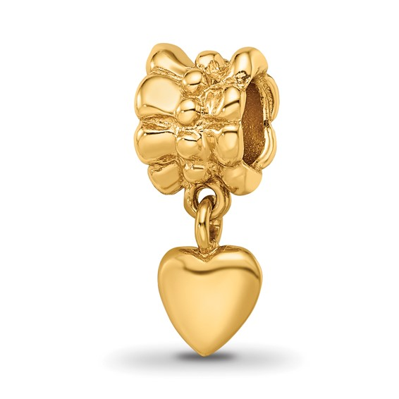 Sterling Silver Gold-plated Reflections Heart Dangle Bead