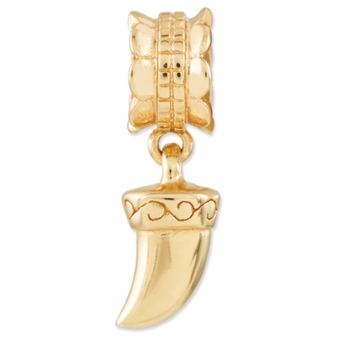 Sterling Silver Gold-plated Reflections Tiger Claw Dangle Bead