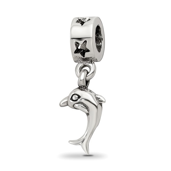 Sterling Silver Reflections Dolphin Dangle Bead