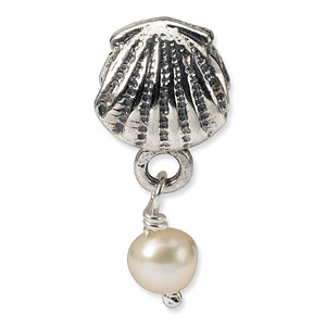 Sterling Silver Reflections Shell Cultured Pearl Dangle Bead