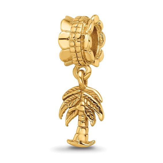 Sterling Silver Gold-plated Reflections Palm Tree Dangle Bead