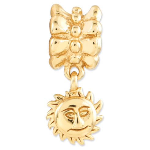 Sterling Silver Gold-plated Reflections Sun Dangle Bead
