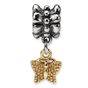 Sterling Silver & 14kt Gold Reflections Butterfly Dangle Bead