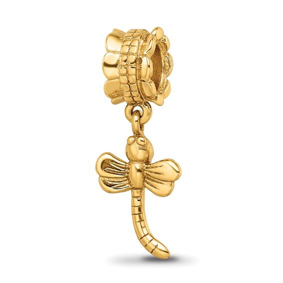 Gold-plated Sterling Silver Reflections Small Dragonfly Dangle Bead