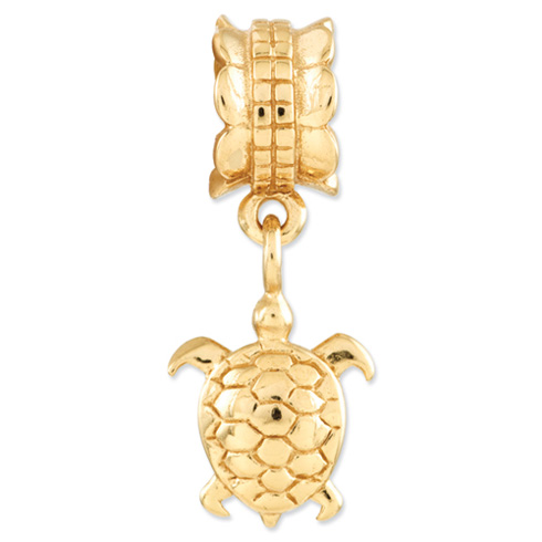 Sterling Silver Gold-plated Reflections Turtle Dangle Bead