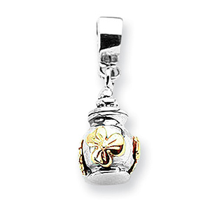 Sterling Silver 14k Gold Reflections Floral Ash Dangle Bead