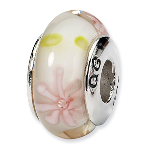 Sterling Silver Reflections Pink Floral Hand-blown Glass Bead