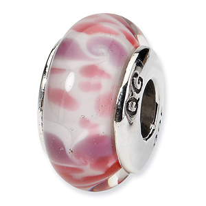 Sterling Silver Reflections Pink White Hand-blown Glass Bead