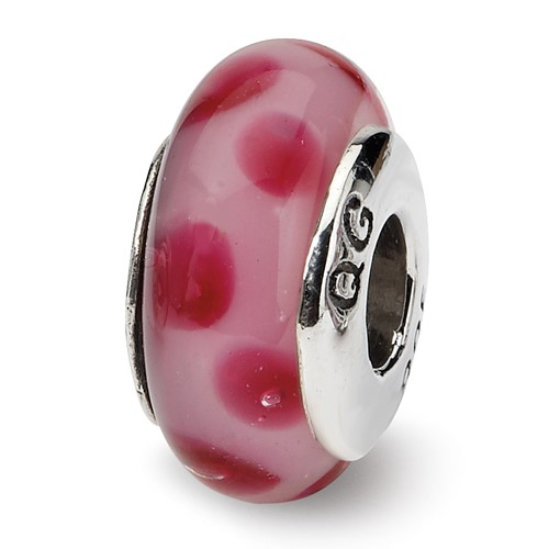 Sterling Silver Reflections Pink Dotted Hand-blown Glass Bead