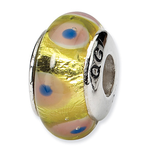 Sterling Silver Reflections Pink Yellow Hand-blown Glass Bead