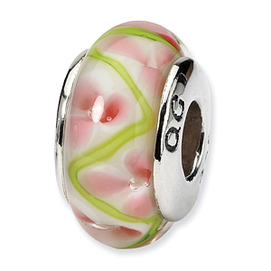 Sterling Silver Reflections Pink Green Hand-blown Glass Bead