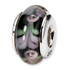 Sterling Silver Reflections Pink Black Hand-blown Glass Bead