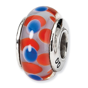 Sterling Silver Reflections Red Blue Hand-blown Glass Bead