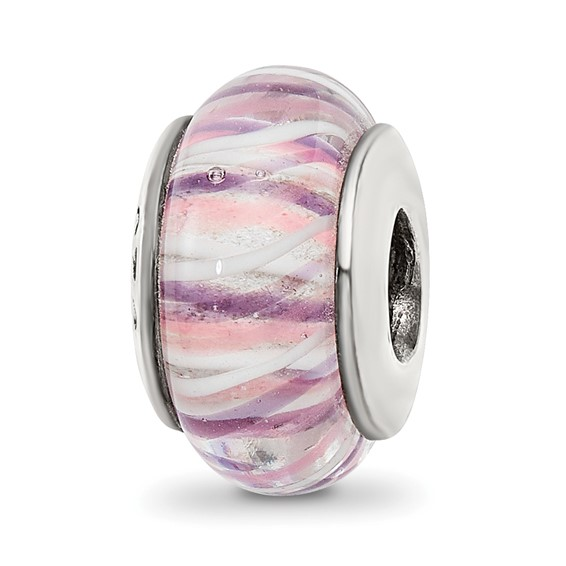 Sterling Silver Reflections Pastel Striped Hand-blown Glass Bead