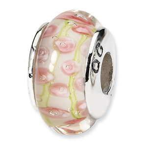 Sterling Silver Reflections Pale Pink Green Hand-blown Glass Bead