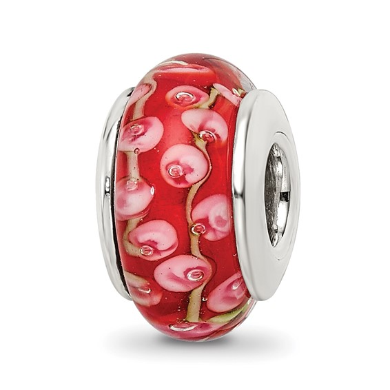 Sterling Silver Reflections Pink Red Hand-blown Glass Bead