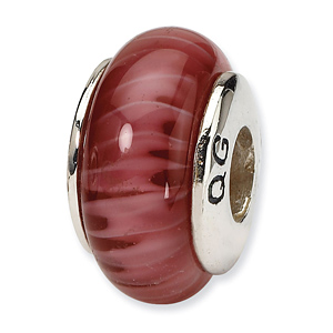 Sterling Silver Reflections Red Hand-blown Glass Bead
