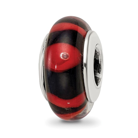 Sterling Silver Reflections Red Black Hand-blown Glass Bead