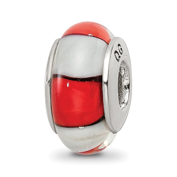 Sterling Silver Reflections Red White Hand-blown Glass Bead