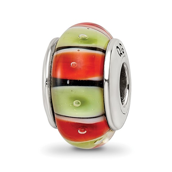 Sterling Silver Reflections Orange Red Lt Green Glass Bead