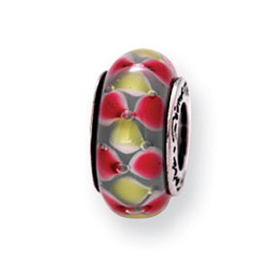 Sterling Silver Reflections Pink Yellow Gray Hand-blown Glass Bead