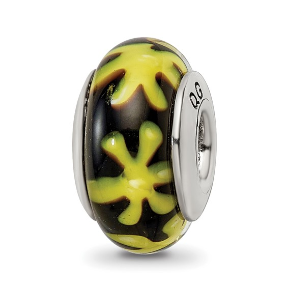 Sterling Silver Reflections Yellow Black Hand-blown Glass Bead