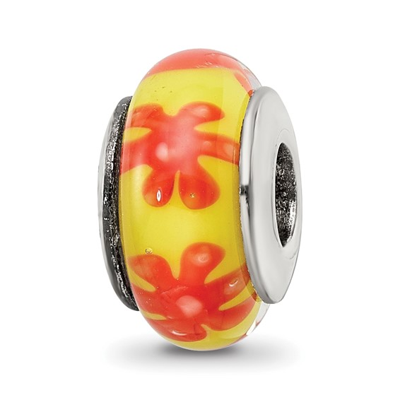 Sterling Silver Reflections Yellow Orange Hand-blown Glass Bead