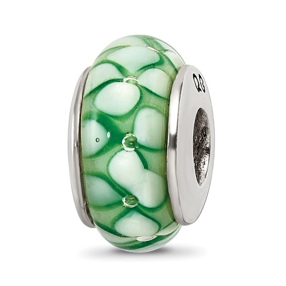 Sterling Silver Reflections Green Floral Hand-blown Glass Bead