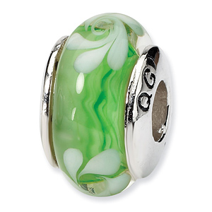 Sterling Silver Reflections Green White Hand-blown Glass Bead