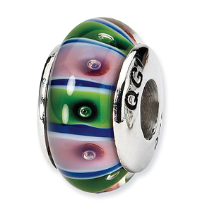 Sterling Silver Reflections Green Pink Hand-blown Glass Bead