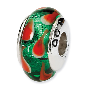 Sterling Silver Reflections Green Red Hand-blown Glass Bead