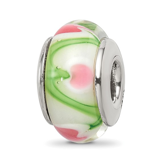 Sterling Silver White Pink Green Hand-blown Glass Bead