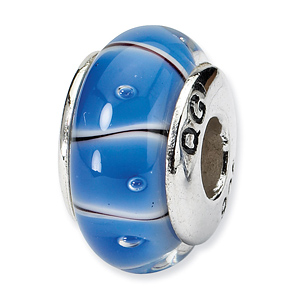 Sterling Silver Reflections Blue White Hand-blown Glass Bead