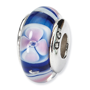 Sterling Silver Reflections Blue Pink Floral Hand-blown Glass Bead