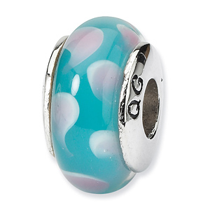 Sterling Silver Reflections Blue Speckled Hand-blown Glass Bead